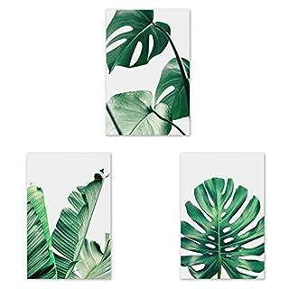 Jagenie Peinture à l'huile sur toile avec motif de feuille verte Pour la décoration du salon ou de la maison Sans cadre, Toile, Green, 30x45CM