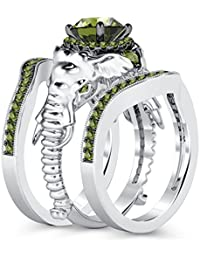 Silvernshine Milgrain Halo 9K White Gold Plated 1.2Ct Round Green Peridot CZ Diamond Elephant Ring