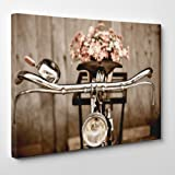 QUADRO MODERNO su Tela Canvas - Bicicletta Olandese con Mazzo di Fiori Vintage - Molto Elegante - 70x100cm - Spessore 4cm
