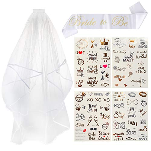 Ailiebhaus deko Accessoires für den Junggesellinnenabschied | Banner + weißer Schleier + Tattoos für Braut to be, Team Braut für Braut Dusche Henne Nacht Party Lieferungen, 3 Stück