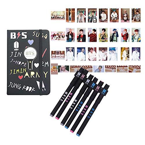 BTS Geschenk-Set für Armee - 40 Stück BTS Karte der Seele Persona Fotoalbum, LOMO Karte, 1 BTS Leder-Notizbuch, 6 Stück BTS Stift, 10 Foto-Clips, 4 m Schnur. -