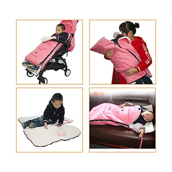 DENGHENG Baby Sleeping Bag Infant Winter Stroller Thick Warm Envelope Sleepsacks Footmuff DENGHENG ❤ Stroller Sleep Bag, Softly padded with warm fleece lining and extra quilting. ❤ 2 in 1 - Removable front unzips, easily converting to a comfy Seat liner ❤ Can Also be used as a Padded Pushchair or Buggy Liner- ideal for the summer months 9