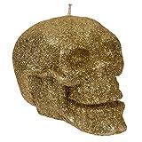 Glamour Totenkopf Kerze mit Glitzerteilchen aus Wachs, 2 Varianten, Maße (H x B x T): ca. 7,5 x 7 x 11 cm, ideal als Halloween-Deko oder Geschenk für Goths, Farbe:goldfarben