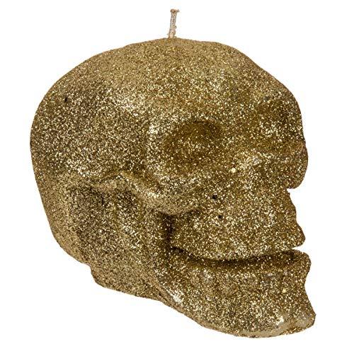 rze mit Glitzerteilchen aus Wachs, 2 Varianten, Maße (H x B x T): ca. 7,5 x 7 x 11 cm, ideal als Halloween-Deko oder Geschenk für Goths, Farbe:goldfarben ()