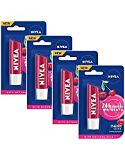 Nivea Lip Care Fruity Shine Cherry, 4.8g (Pack of 4)