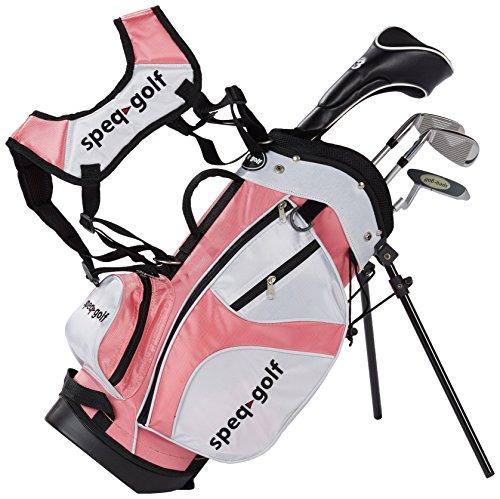 Speq - Mezzo set di mazze da golf per bambini con borsa, colore: Giallo, Rosa (Rosa, bianco), 1,00-1,15 m