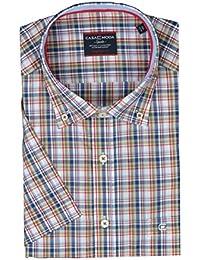 Casa Moda - Comfort Fit - Herren Freizeit 1/2-Arm-Hemd mit Karo Muster und Button Down Kragen (972756500)
