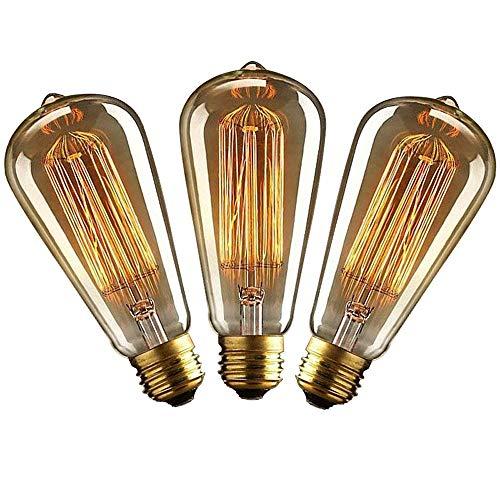 Kandelaber-buchse-adapter (QueenYA Glühlampenbirne Für 3 Stück Vintage Edisons 40w, Retro-wolframglühlampe Warmes Gelbes Licht Restaurant Club Coffee Bars Licht Beleuchtung Zubehör,E27/220/240)