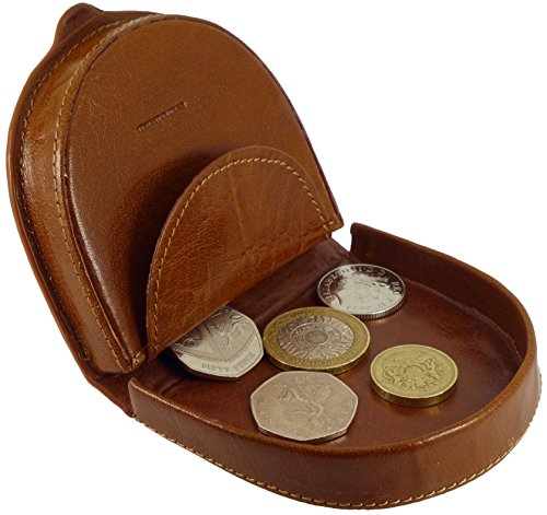 Mens Premium Quality Leather Coin Tray Purse Wallet in Black or Tan (Tan)