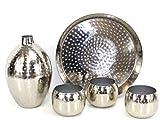 qm basic XL Orient Deko Set Silber Hammerschlag Vase + Tablett groß + 3 STÜCK Windlichter ~VDs