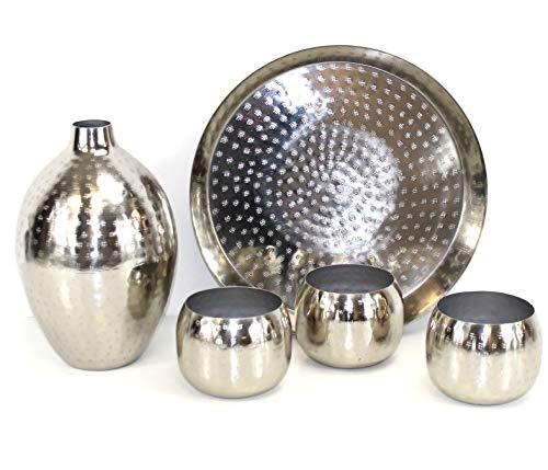 QM BASIC XL Orient Deko Set Silber Hammerschlag Vase + Tablett groß + 3 STÜCK Windlichter ~VDs -