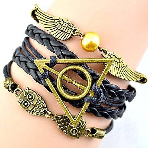 Bracciali Harry Potter con simboli Golden Snitch & Death Hallow e gufo/civetta - Cosplay - Modelli A scelta - Nero Gioielli Silicone