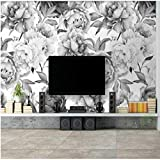 Pmhhc Nordic Black And White Peony Flower 3D Wallpapers For Walls 3D Wall Paper Vintage Decorative...