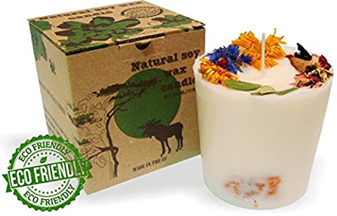 Pure Natural Soy Wax Gift Candle with Real Dry Flowers, Eco-frendly (Non Scented, 350g)