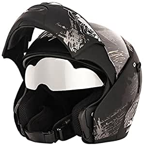 Vega Boolean BLN-GUP-DKS-L Give Up Flip-up Graphic Helmet with Double Visor (Dull Black and Silver, L)