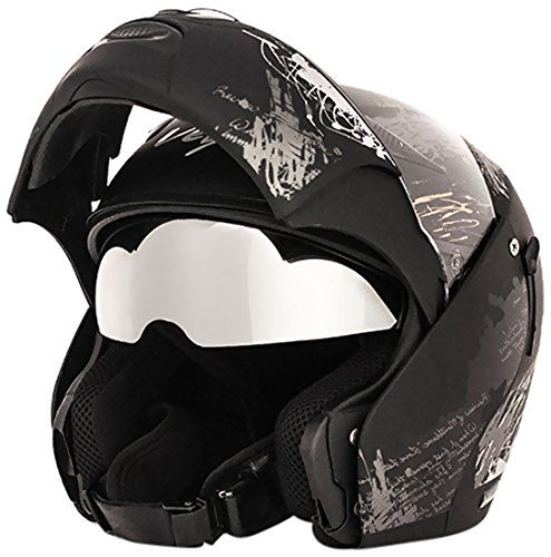 Vega Boolean BLN-GUP-KS-M Give Up Flip-up Graphic Helmet with Double Visor (Black and Silver, M)