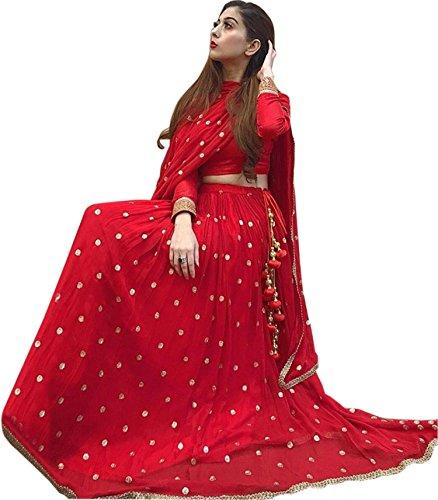 ShreeBalaji Creation Womens's Red Colour Semi-stitched Bridal Lehengas cholis(Red_Freesize)