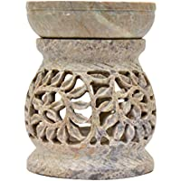 """Artist Haat Gift Deals - Essential Oil Diffuser, Oil Burner, Oil Warmer with Tea Light Holder for Aromatherapy - Artisan Handcarved Soapstone 3"""" with Intricate Elegant Tendril Openwork"""