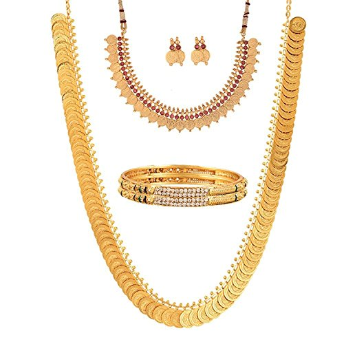 YouBella Fashion Gold Plated Brass Bangles, Long Traditional Maharani Bridal Temple coin and Red Temple Coin Necklace Set And Earrings for Women (2.8)