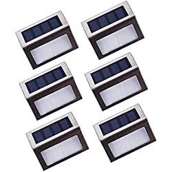 Asvert Apliques LED Solares para Exterior 6 pcs Lámpara de Pared Impermeable IP44 de Material PC+ABS+Acero Inoxidable para Jardín Escalera
