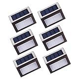Asvert Applique solare 6 Pezzi Luce Solare Esterno Lampada Led Solare Impermeabile Automatico per Giardino Cortile Terrazzino in Acciaio
