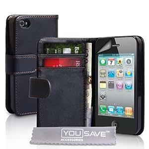 Neues Qualität Schwarz Leder Schutzhülle Für Apple IPhone 4 4G Mit Frei Displayschutz Von Yousave