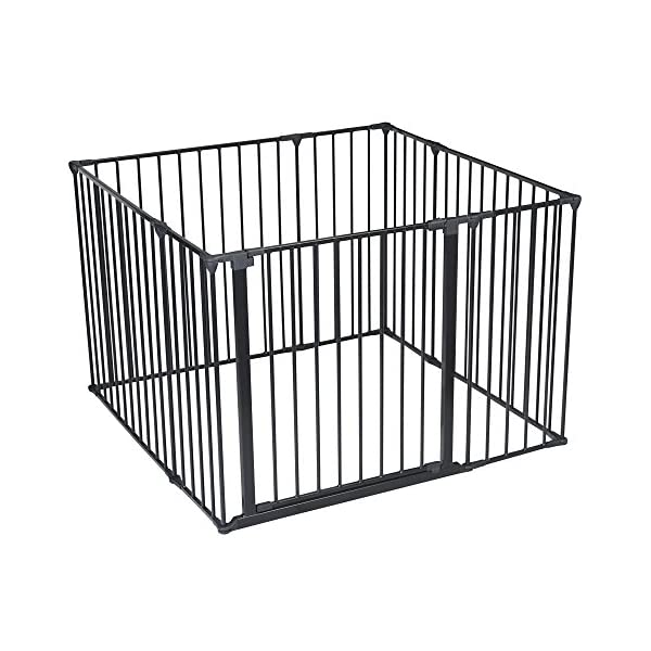 Safetots Play Pen (Black, 105 x 105 cm) Safetots perfect solution for keeping baby in a safe area whilst they rest and play Includes 1x 72cm Gate Opening Panel, 3x 72cm Panels, 4x 33cm Panels Extra wide door section for easy access 1