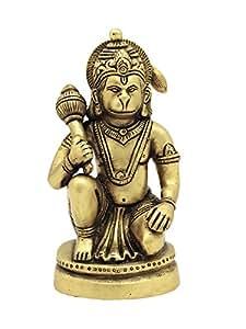 Cosmo Craftvilla God Idol Lord Hanuman Ji Murti Statue Handcrafted , ( Brass, W-900Gm H-5.5'')