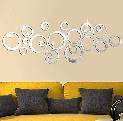 Dusenly - Pegatinas 3D de cristal para pared, acrílico, espejo, círculo, decoración de pared, dormitorio...