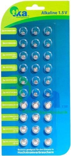 tka Köbele Akkutechnik Uhrenbatterien: Knopfzellen, 30er-Sparpaket,LR41/ LR43/ LR44/ LR621/ LR626/ LR1130 (Knopfzellensortiment)