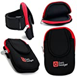 DURAGADGET Black & Red Neoprene Sports Armband - Running,