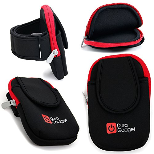 DURAGADGET High Quality, Black & Red Neoprene Sports Armband Case - Running, Cycling & Gym Smartphone Case / Holder for Mobile Phones, iPods, MP3 Players