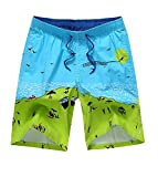 Honeystore Herren Freizeit Shorts Casual Mode Urlaub Strand-Shorts Mosaik-Farbe Sommerhose Blau und Grün XXL