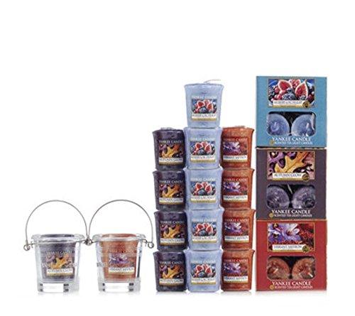Offizielles Yankee Candle 53Stück Floral Vibes, Votiv & Eimer Naturschieferstein Kollektion Geschenk Set (Safran Kollektion)