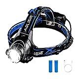 Arrinew LED Stirnlampe, LED Kopflampe, LE Superheller, Super Bright LED 4 Helligkeits-Modi, 90 Grad Winkeleinstellung und Lichtfokus mit zwei Wiederaufladbare Akkus für Wandern, Camping, Ausflug