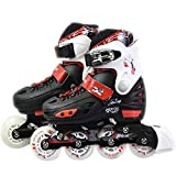 Childrens Adults Kids Boys Girls 4 Wheel Adjustable Inline Skates Roller Blades (Red/Black, Medium /UK 2 – 4/)