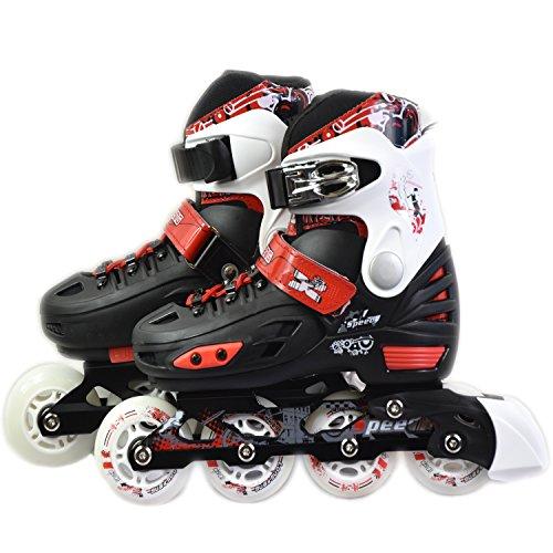 Childrens Adults Kids Boys Girls 4 Wheel Adjustable Inline Skates Roller Blades (Red/Black, Medium /UK 2 – 4/)