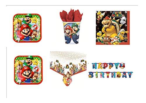 Super Mario Bros und Luigi Party-Kit N ° 34cdc- (24Teller, 24Gläser, 40Servietten, 1Tischdecke, 1Girlande Wimpelkette)