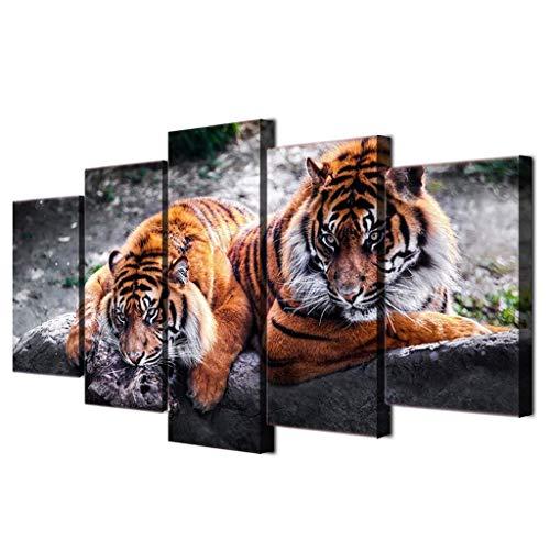 Dainufeng modern canvas mural art frameless decorazione della casa soggiorno hd stampa 5 pezzi tiger tiger painting forest animals