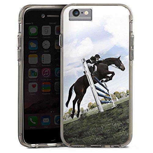 Apple iPhone 8 Bumper Hülle Bumper Case Glitzer Hülle Pferd Horse Reitsport Bumper Case transparent grau