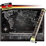 Weltkarte zum Rubbeln, Rubbelweltkarte in Deutsch, inkl. Geschenk-Verpackung und Rubbelhilfe, 80x60 cm, Landkarte zum Freirubbeln, Schwarz/Silber matt