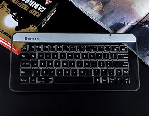Bastron® Touch Sensitive drahtlose Bluetooth-Glastastatur, wasserdichte Tastatur mit Hintergrundbeleuchtung und Mousepad und Gestenfunktion (Silber)