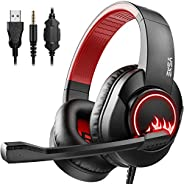 EKSA T8 Stereo Gaming Headphones for PS4 PC Xbox One PS5 Controller, Noise Cancelling Over Ear Headphones with