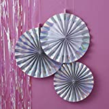 Ginger Ray Iridescent Holographic Hanging Fan Pinwheel Decorations x 3 - Iridescent Party