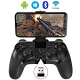 BESTUNE Bluetooth-Gamecontroller Wireless Gamepad Wiederaufladbar Telefon Controller mit Vibrationsfunktion, kompatibel mit Android Phone, Tablet, TV Box, VR (Controller mit Empfänger)