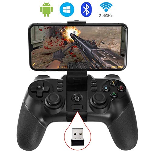 MX Kingdom Bluetooth Gamepad Wireless Gamepad Rechargeable Phone Controller with Vibrating Function, Compatible with Android Phone, Tablet, TV, TV Box, VR Black (Controller with Receiver)