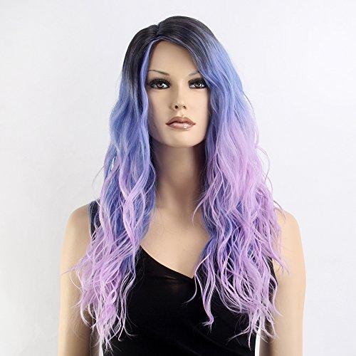 stfantasy Perücken für Frauen lange Wave hitzebeständiges Synthetikhaar 66cm 240g flauschig Wig peluca frei Hair Net + Clips, Violett Bunt dunklen (Perücke Ihre Flip)
