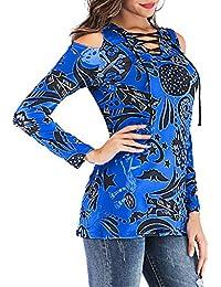 URIBAKY- Camisas De Hombro Frío Blusas Mujeres Casual Tallas Grandes Camiseta Slim Fit