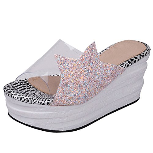AIYOUMEI , chaussures compensées femme Rose