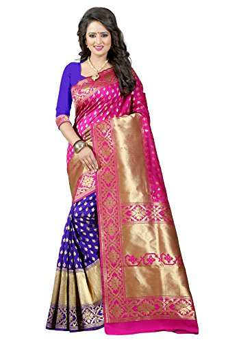 Traditional Ethnic Tassar Silk Banarasi Sarees With Unstitched Blouse Design, Pink And...